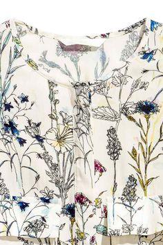Abito corto - Bianco naturale/fiori - DONNA | H&M IT
