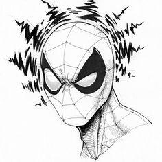 Inktober 2014 (Updated Daily) on Behance to drawing spiderman Dark Art Drawings, Marvel Drawings, Pencil Art Drawings, Drawing Sketches, Cool Drawings, Comic Drawing, Spiderman Tattoo, Spiderman Drawing, Spiderman Art