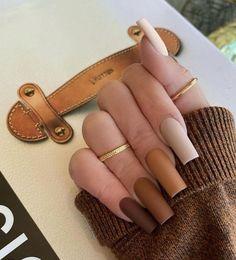 Bling Acrylic Nails, Acrylic Nails Coffin Short, Simple Acrylic Nails, Square Acrylic Nails, Best Acrylic Nails, Acrylic Nail Designs, Gradient Nails, Acrylic Art, Fall Nail Designs
