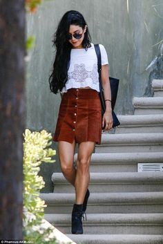 Vanessa Hudgens donned a sexy suede skirt when she was spotted in Los Angeles on Saturday