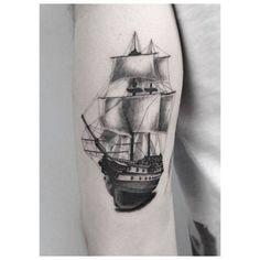 Full-rigged ship tattoo on the right arm. Tattoo artist: Jakub...