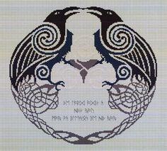 Odin's Ravens Cross Stitch Pattern - Depictions of the norse god Odin often show him accompanied by two ravens, named Huginn ( Pagan Cross Stitch, Cross Stitch Bird, Modern Cross Stitch, Cross Stitch Charts, Cross Stitch Designs, Cross Stitching, Cross Stitch Embroidery, Embroidery Patterns, Cross Stitch Patterns