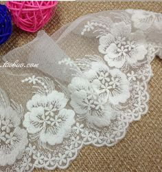 13 cm US $1.58 x 18 yards # Cottage Lace  [US $1.73 x 10 yards # Joyworld http://www.aliexpress.com/store/product/11cm-100-cotton-embroidery-lace-applique-trim-lace-mesh-lace/320437_924636514.html; US $4.68 x 10 yards # Xery Garment http://www.aliexpress.com/store/product/FREE-SHIPPING-14cm-high-quality-soft-net-and-pure-cotton-embroidery-lace-trimming-skirt-trimming-decoration/325517_913099575.html]