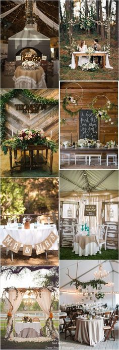 Rustic country wedding ideas - rustic sweetheart table decor for wedding reception