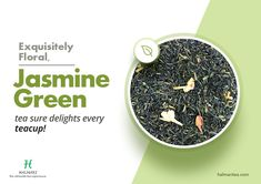 Halmari Tea brings you a novel way to experience the Jasmine Green tea on its own. This unmistakably beautiful tea is smooth, and delicately scented by using blossoms of the jasmine flower. It also has a lot of health benefits.