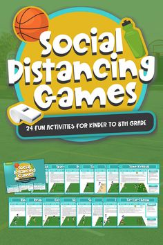 6 Feet Social Distance. Minimal Equipment. 10-45 Min Activities. Small Group to Full Class. Indoors or Outdoors. Download the games now! Physical Activities For Kids, Fun Activities For Kids, Physical Education, Kindergarten Games, Classroom Activities, Gym Songs, Catholic Schools Week, Gym Games, Kids Church