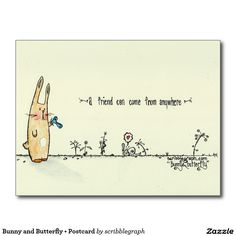 Get your hands on a customizable Friendship postcard from Zazzle. Find a large selection of sizes and shapes for your postcard needs! Say Hi, Friendship, Bunny, Butterfly, Illustration, Cute Bunny, Illustrations, Rabbit, Butterflies