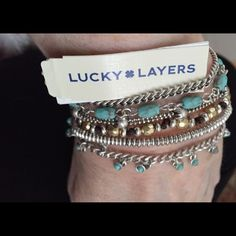 """Listing, Lucky Brand Lucky ☘Layers Bracelet This is a beautiful LUCKY☘Brand lucky layers bracelet. It has 6 layers of semi precious accents. It is 7 3/4"""" long and approx 1 1/2"""" wide. It has a bar magnetic closure with safety latches at both ends. It is Brand new, retail was $59 Lucky Brand Jewelry Bracelets"""