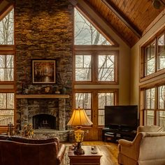 Custom stone fireplace, exposed beams and custom wood finishing, Australian Cypress wood flooring with an American Walnut border, long range views of the Blue Ridge Mountains.. What more could you ask for? #rustic #mountain #luxury