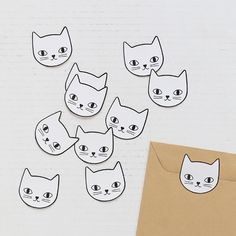Shop Lot de 10 stickers Tête de chat from Audrey Jeanne in Stationery, available on Tictail from Animal Gato, Deco Originale, Jeanne, Cute Stationery, French Brands, Stickers, Cat Lovers, Create Your Own, Snoopy