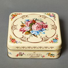 vintage tin can box danish cookie cake flowers by northvintage, $29.00
