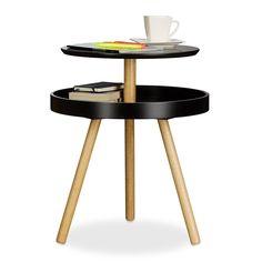 Relaxdays Round Side Table, Wooden, Birch, Shelf, 3-Legs, Coffee Table, HxWxD: 55 x 47 x 47 cm, Black: Amazon.co.uk: Kitchen & Home