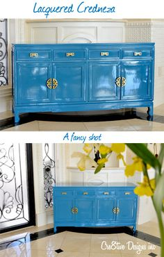 Pain those credenzas!-sherwin williams loc blue 6502 Lacquered Credenza-not this color. but paint the old credenzas to give them new life and splash of color to the great room! Lacquer Furniture, Paint Furniture, Furniture Projects, Furniture Making, Furniture Makeover, Furniture Design, Refurbished Furniture, Upcycled Furniture, Lacquer Paint