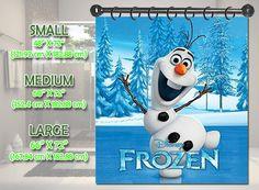 """New Disney Frozen Olaf Snowman Shower Curtain Bath Bathroom Size Small 48"""" x 72"""" Medium 60"""" x 72"""" Large 66"""" x 72"""""""