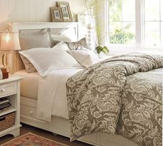 Alessandra Floral Reversible Duvet Cover & Sham - Gray | Pottery Barn - This is the duvet and bed frame I want for our new home. :)