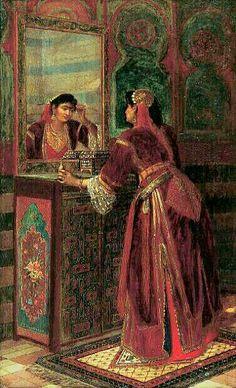 Peinture d'Algérie - Peintre Belge, Jean Baptiste Huysmans(1826 – 1906),huile sur toile, Titre : Jeune femme de Constantine  faisant sa toilette.                                                                                                                                                                                 Plus