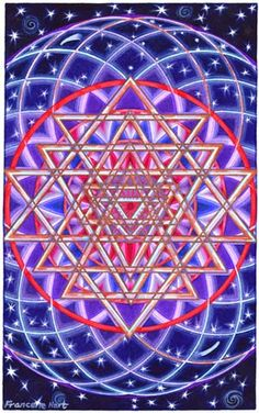 Torus - Sri Yantra - original watercolor painting by Francene Hart.   The Sri Yantra is an ancient meditation symbol here joined with a tube torus, which in three dimensions, looks like an doughnut and is akin to earth's magnetic fields.  The Torus activates dynamic magnetic energy while the Sri Yantra invites information through the contemplative process.