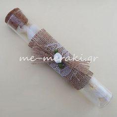 Mπομπονιέρα γάμου, γυάλινος σωλήνας (15 εκ.), με λινάτσα και δαντέλα.  Κ10087  Μπομπονιέρες γάμου  http://www.me-meraki.gr/