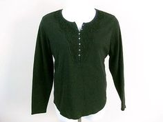 Northcrest Womens Black Long Sleeve Thermal Embellished Henley Knit Top Sz 2x