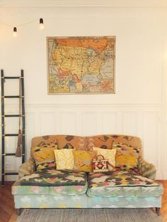 Inside the Messy Nessy Chic Clubhouse in Paris. Take the full tour up on the blog! - that couch!