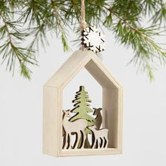 Wood Animal Scene Ornaments Set of 2 - v1