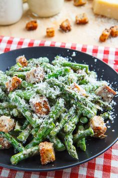 Caesar Grilled Asparagus Salad- Asparagus replaces the lettuce in this smoky and sharp flavored salad. Includes from scratch instructions for a light Caesar dressing, and Parmesan croutons.