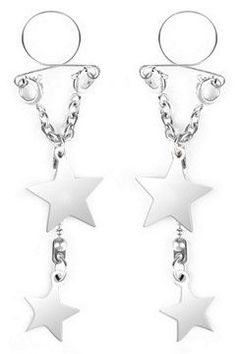 Silver Silver Star Nipple Jewelry Baci Lingerie PK309 Silver One Size Fits All, Women's
