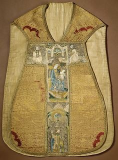 Chasuble with silk embroidered Orphrey panels - Bohemian - early 15th century - Front View