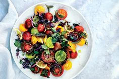 Tomato, Onion, and Roasted Lemon Salad from Bon Appetit: Sugared, roasted lemons are edible from rind to flesh and give this salsa-like mix a bracing jolt of sourness Lemon Salad Recipe, Caprese Salad Recipe, Salad Recipes, Pasta Recipes, Cherry Tomato Recipes, Cherry Tomato Pasta, Cherry Tomatoes, Bon Appetit, Cooking Recipes