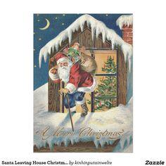 Shop Santa Leaving House Christmas Tree Holiday Postcard created by kinhinputainwelte. Custom Christmas Cards, Christmas Greeting Cards, Holiday Cards, Christmas Holidays, Merry Christmas, Vintage Invitations, Holiday Postcards, Vintage Greeting Cards, Canvas Art