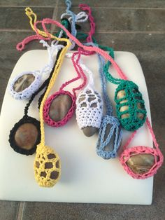 crochet rock necklaces