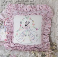 Southern Belle, embroidered pillow