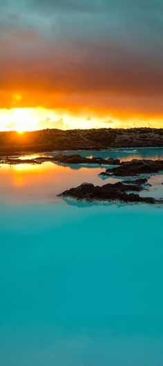 Sunset over Blue lagoon, Iceland