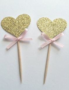 10 Gold Glitter Heart Cupcake Toppers with by PaperTrailbyLauraB