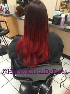*Chocolate covered strawberry* brown into red ombré using Pravana vivids #pravana #matrix #ombre # OTA #ontheavenue #waco #wacotown #texas