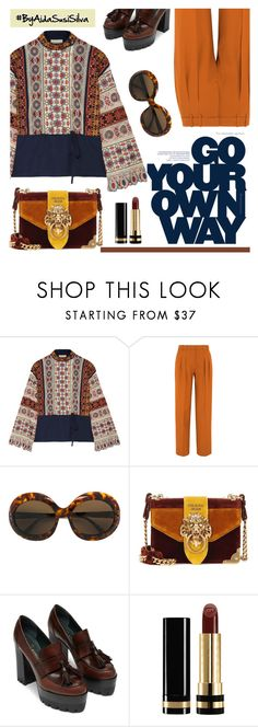 """""""Embroidered Blouse"""" by aidasusisilva ❤ liked on Polyvore featuring Tory Burch, Victoria, Victoria Beckham, Sol-Amor, Prada and Gucci"""