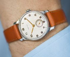 Dress watch Pobeda for men - classical men wristwatch - 50s gents watch gift - mid size watch him - mechanical watch - premium leather strap
