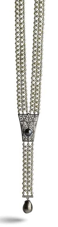 Natural Black Pearl Sautoir. Natural pearl necklace sautoir, strung on platinum, with diamond and platinum plaques and natural black pearls.American, ca. 1920