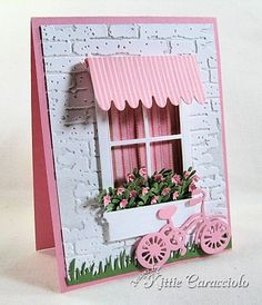 Savvy Stamps dies (Awning, Bike), Poppystamps dies (small Madison Window, small Flower Box), Memory Box die (Flower Mound), My Favorite Things die (Fresh Cut Grass), Tim Holtz embossing folder (Bricked).