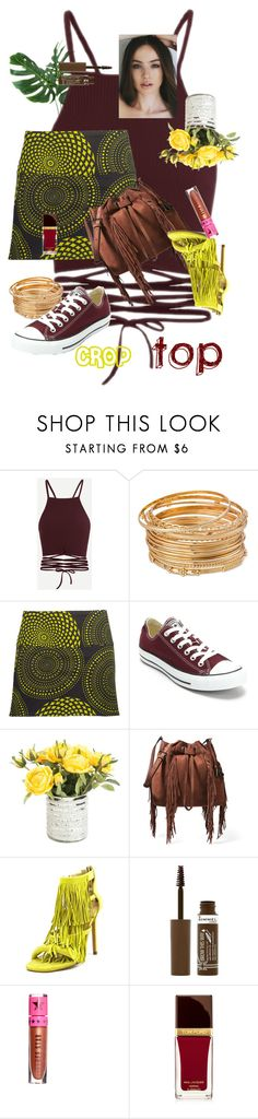 """""""#CROPTOP"""" by dominique-boiche ❤ liked on Polyvore featuring Coline, Converse, Diane Von Furstenberg, Steve Madden, Rimmel, Jeffree Star and Tom Ford"""