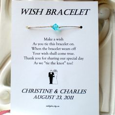 Wish Bracelet Wedding Favor Custom Made