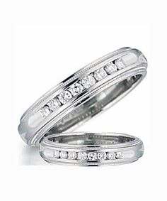 STERLING SILVER PAIR OF WEDDING RINGS W/ STONES - VY Domingo Jewellers Incorporated