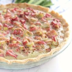 Old Fashioned Rhubarb Pie has a classic custard base filled with tangy sweet rhubarb. A classic rhubarb recipe handed down from my great grandma. Rhubarb Custard Pies, Rhubarb Bars, Rhubarb Desserts, Strawberry Rhubarb Crisp, Just Desserts, Delicious Desserts, Yummy Food, Strawberry Rhubarb Recipes, Rhubarb Muffins
