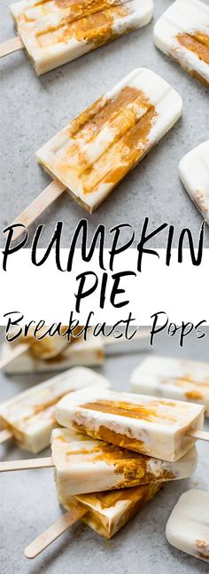 These pumpkin pie breakfast popsicles are a fun and healthy way to get your pumpkin fix! | homemade popsicles | pumpkin spice popsicles | healthy popsicles | canned pumpkin recipes | yogurt popsicles