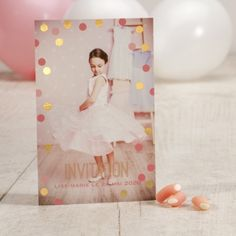 Fotokaart met glinsterende confetti Photo card with glittering confetti Confetti Cards, Glitter Confetti, Birthday Bash, Birthday Parties, Decoration Communion, Toddler Photography, Business Inspiration, Girly, Photo Cards