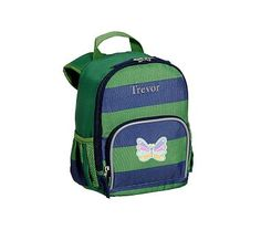 Pre-K Backpack, Fairfax Stripe Green/Navy with Navy Trim Butterfly