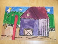 watercolor barns.  teaches foreground, middle ground, and background.  (Plus perspective with the barn.)