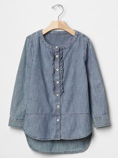 Chambray ruffle hi-lo shirt Product Image