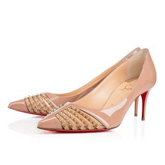 """<p>""""Bareta"""" is a refined new silhouette for Spring/Summer. Balanced by a slender 70mm spike heel, her pointed toe is embellished with a subtle accent of light gold miniature spikes and mesh. In nude patent leather, this pair adds a decorative touch to any look.</p>"""
