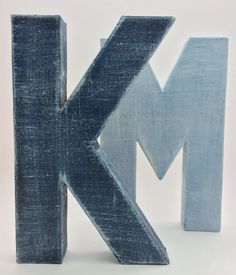 Faux Denim Letters  Vintage  Indigo  Blue by TheEleventhLetter